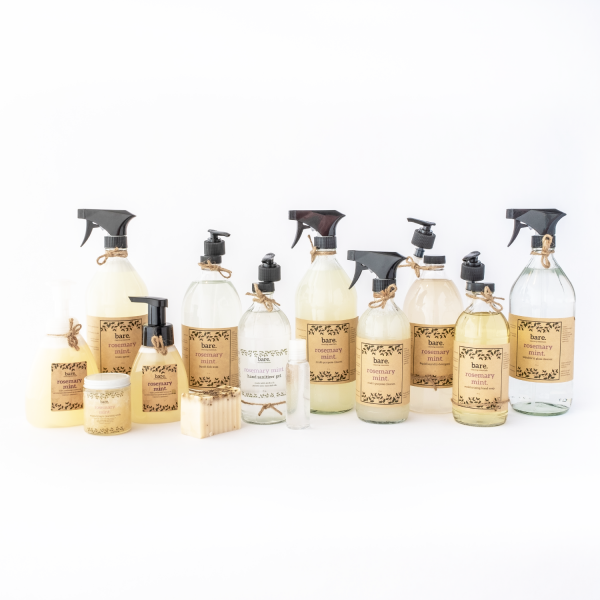 bare cleaning essentials - rosemary mint - full product line - bare. clean with bare