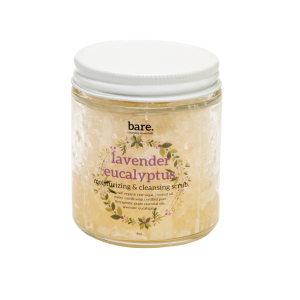 lavender eucalyptus - moisturizing salt scrub - 4oz - bare. cleaning essentials - clean with bare