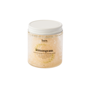 lemongrass - moisturizing salt scrub - 4oz - bare. cleaning essentials - clean with bare